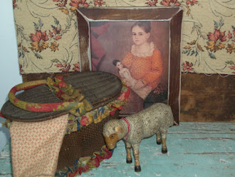 Early Basket, 1800&#39;s Shoenhut Sheep, and Folk-Art Print all available