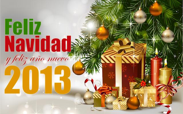 Arbo con regalos navideños Feliz Navidad y Prospero Año nuevo 2013