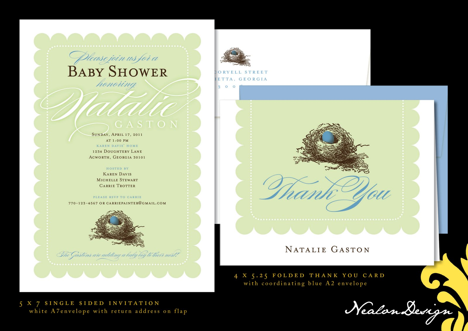 Nealon Design: Bird\'s Nest Baby Shower Invitation