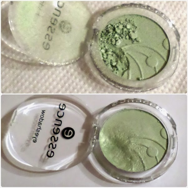 Essence Mono Eyeshadow in Mint Candy Before and After Fixing