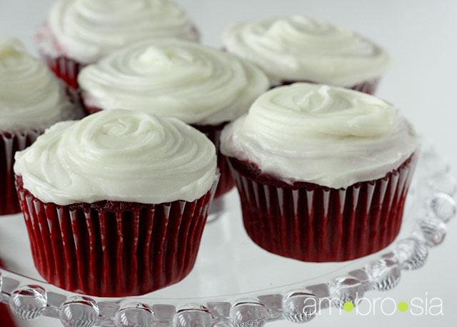 Bright Red Velvet Cupcakes Recipe — Dishmaps