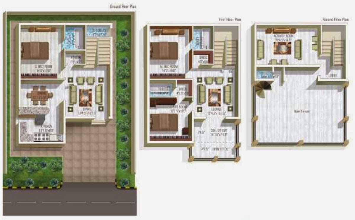 Free house plans online Indian villa floor plans