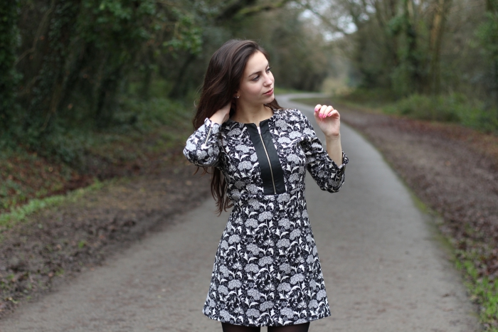 Zara dress black and white Floral Playsuit