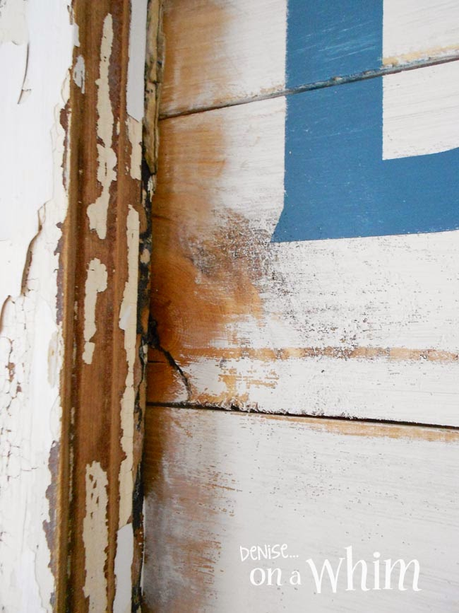 Weathered Paint Appearance on a New Cottage Sign from a Repurposed Window  | Denise on a Whim