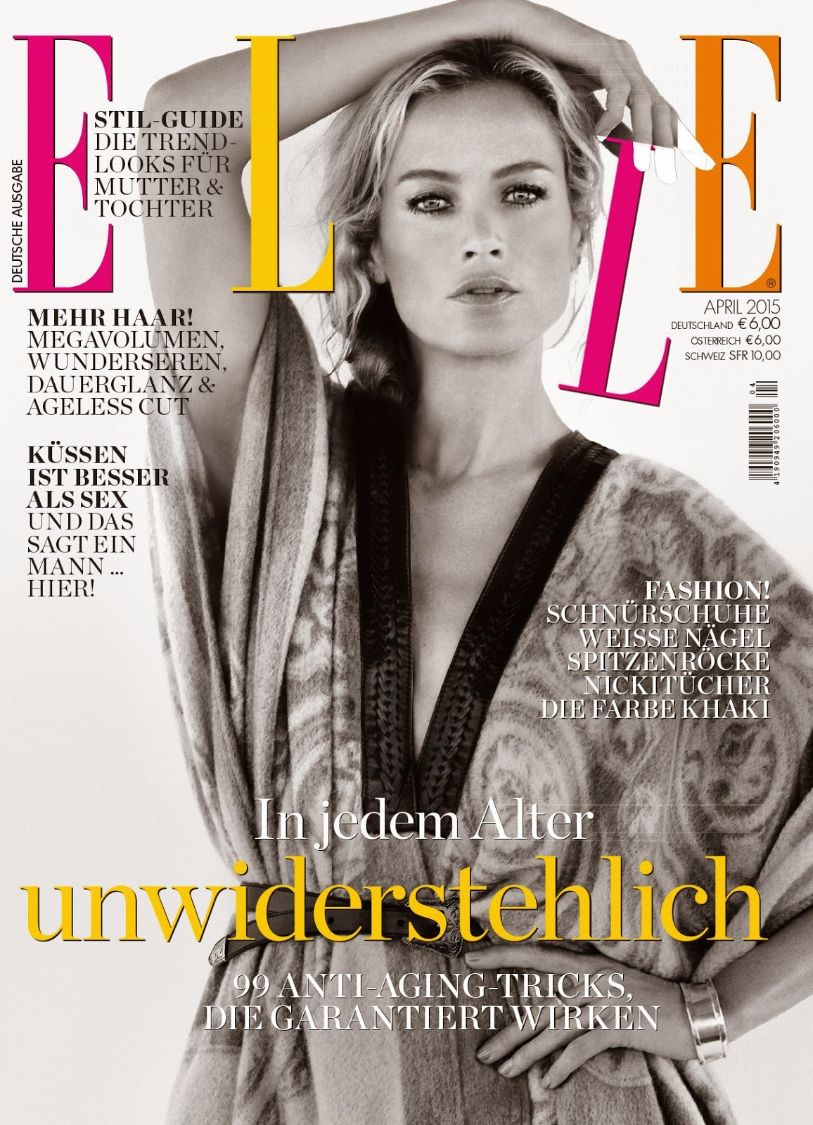 Actress, Model @ Carolyn Murphy by Yelena Yemchuk for Elle Germany April 2015