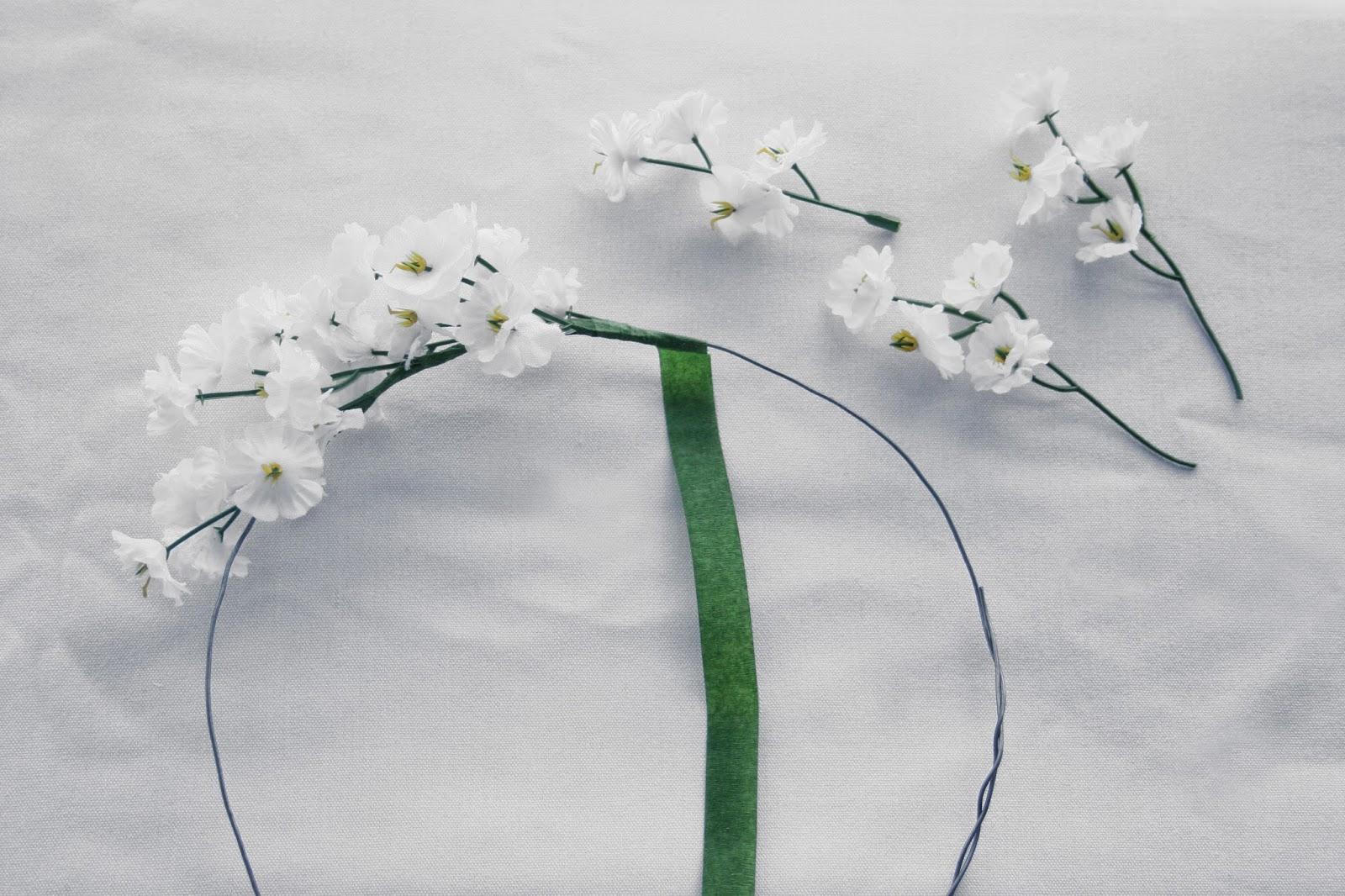 Flores y floratape - Diy corona de flores artificiales2