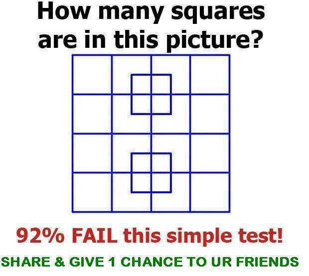 Brain teaser game: count the number of squares