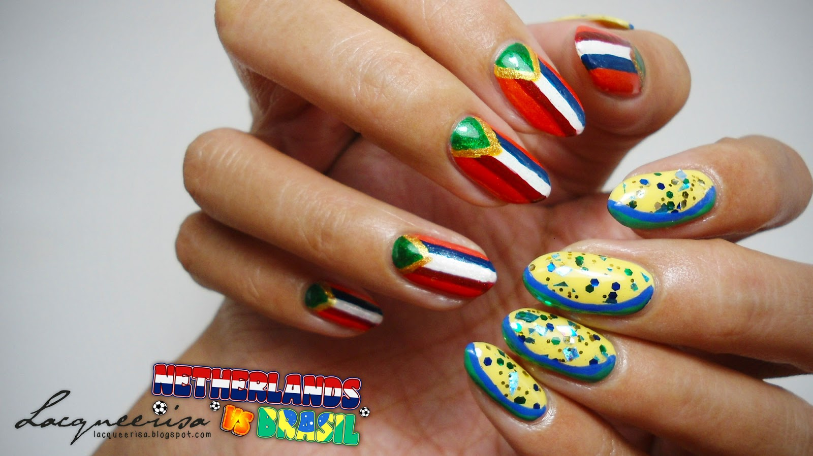 Brasil vs Netherlands Nails lacqueerisa.blogspot.com