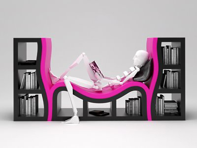 [The mix of a lounge chair and shelves]