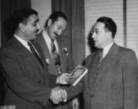 1951 Poet A.M. Klein, (right) with CJC President Monroe Abbey, and Saul Hayes, upon their publication of The Second Scroll