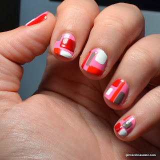 Barielle Smarty Pants Pink Deborah Lippman Footloose Barielle Big Apple Red Orly Faint of Heart mixed with Finger Paints Haute Taupe Black Acrylic Paint, geometric design, geometric design nail art, geometric nail art
