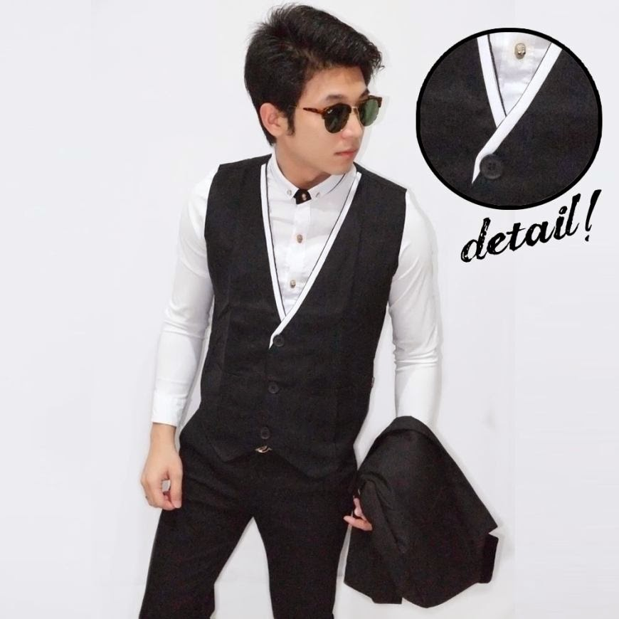 Vest White List Collar Black