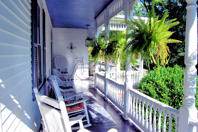 Sit a spell on the porch at The Claiborne House Bed and Breakfast of Virginia