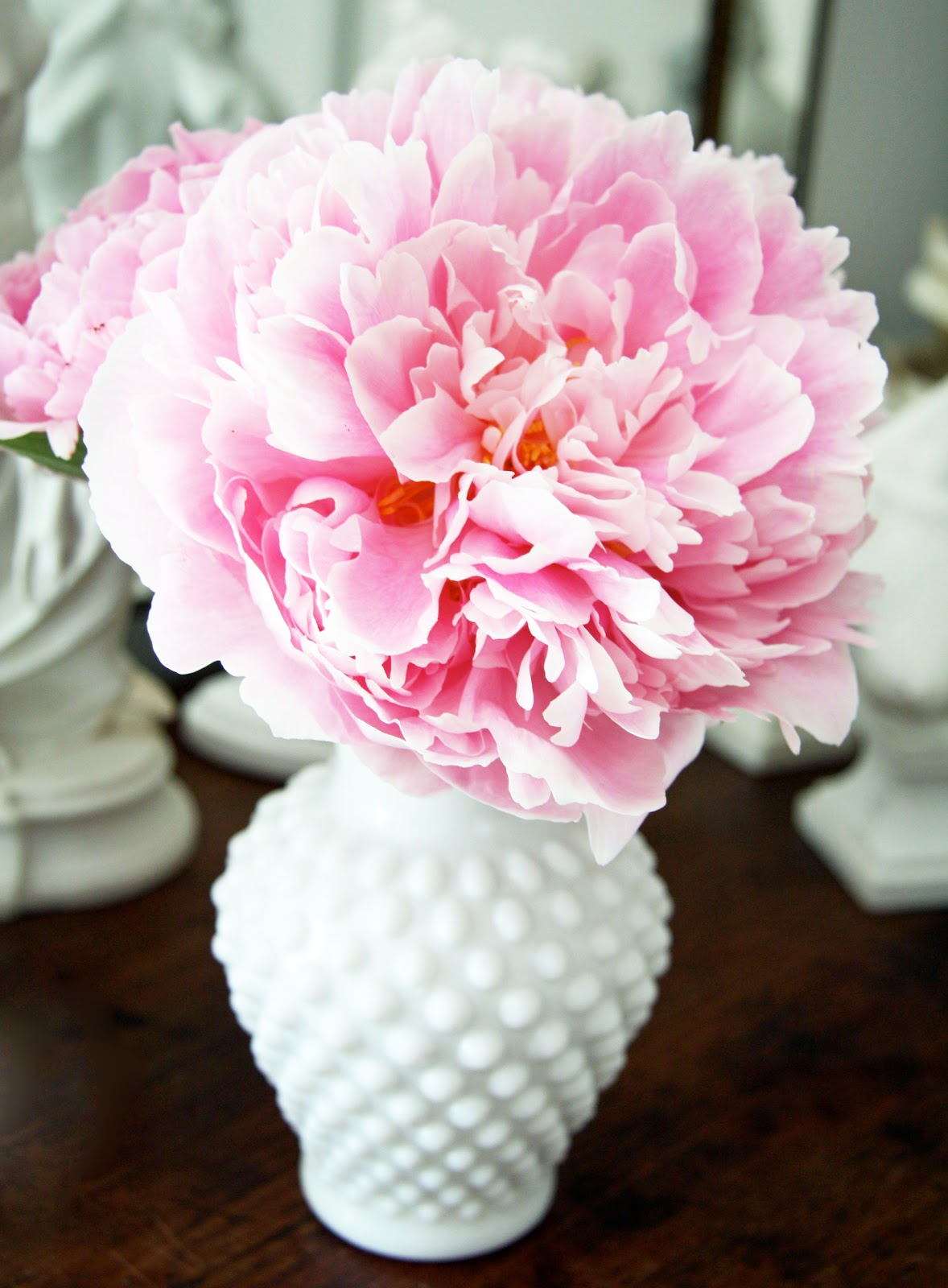Pink Peony In Hobnail Vase Hobnail Milk Glass Pinterest