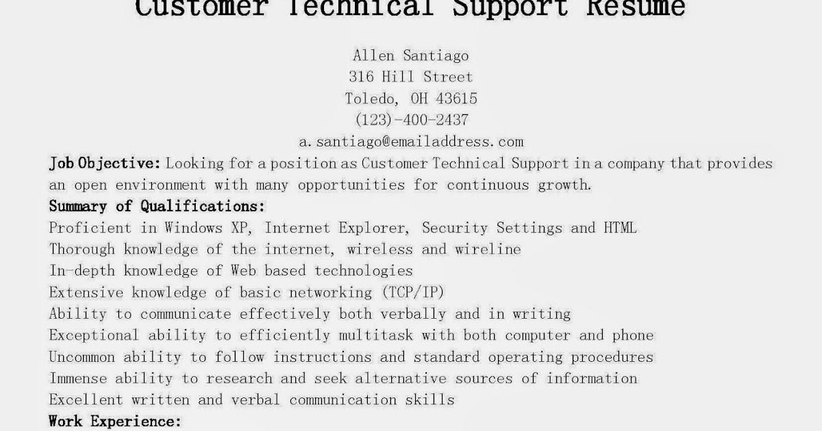 resume sles customer technical support resume sle