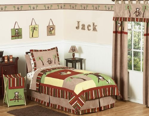 monkey kids bedding 3pc boys set by sweet jojo designs. Interior Design Ideas. Home Design Ideas