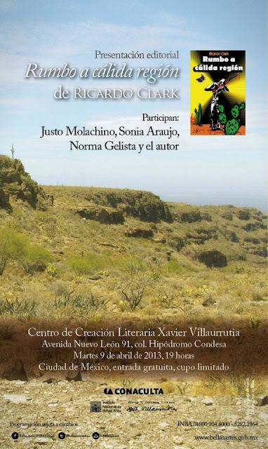 """Presentación del libro """"Rumbo a cálida región"""" de Ricardo Clark"""