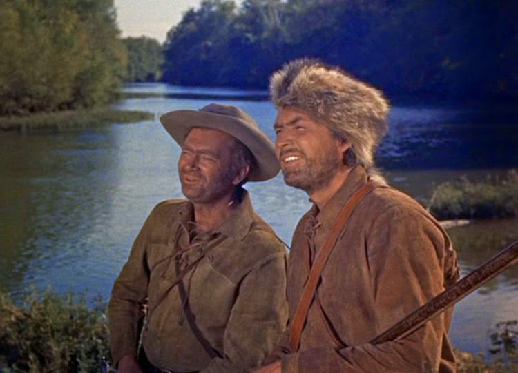 Fess Parker and Buddy Ebsen star in Davy Crockett: King of the Wild Frontier.