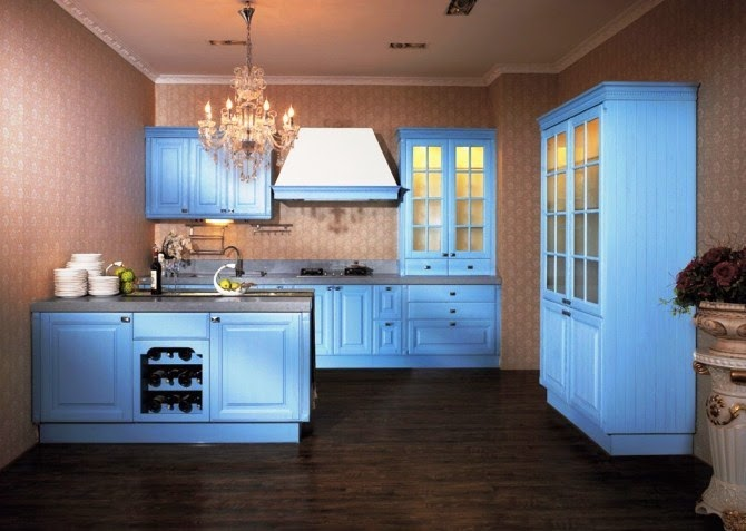 wall color for blue kitchen cabinets
