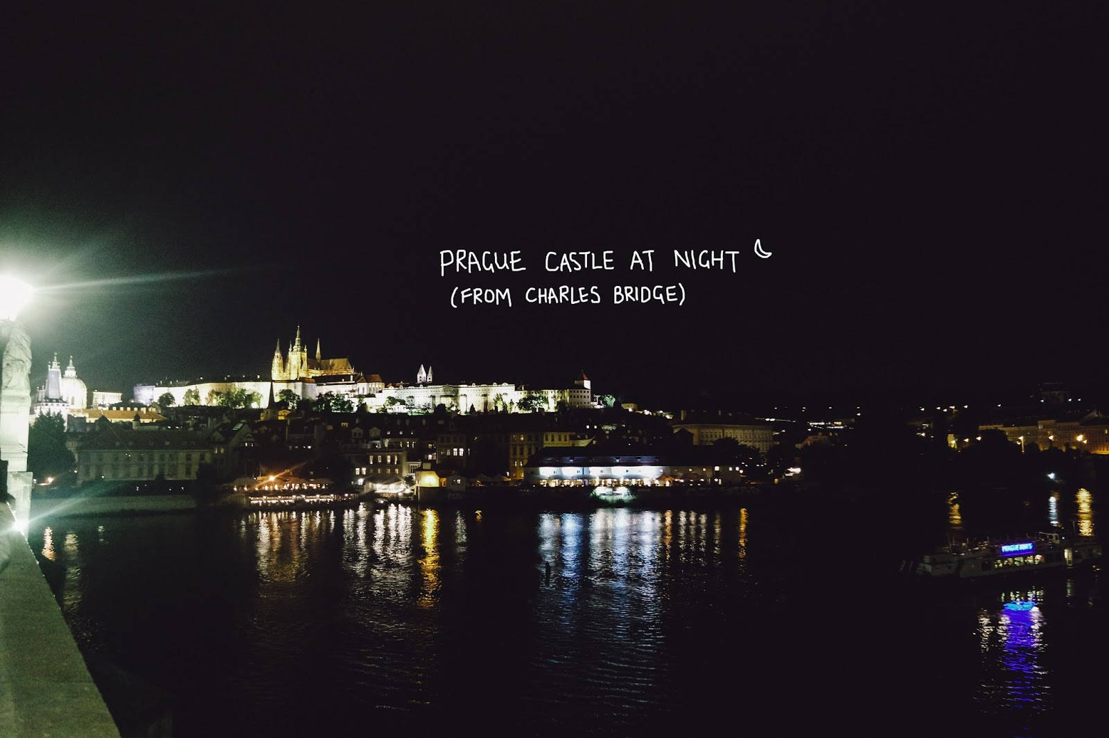 charles bridge prague castle night