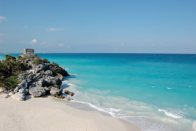 Mayan Ruins Overlooking the Turquoise Waters of the Caribbean Sea in Tulum, Mexico