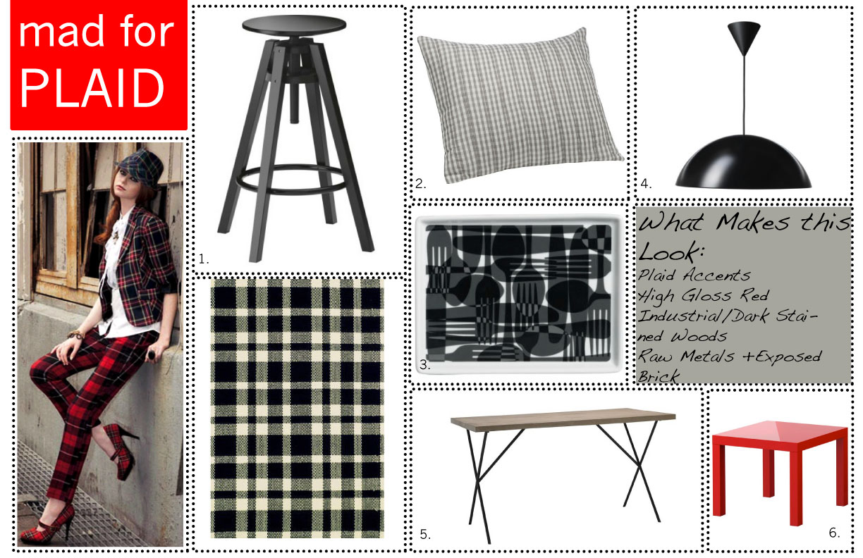 Where to Find: 1. Dalfred Bar Stool: Ikea 2. Plaid Shams: West Elm title=