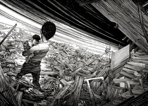 Ilustração a preto e branco de Nico Delort