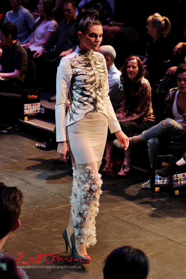 Melody Hay - Skeleton Screenprint, Raffles College 2012 Graduate Fashion Show Carriageworks, Everleigh Sydney
