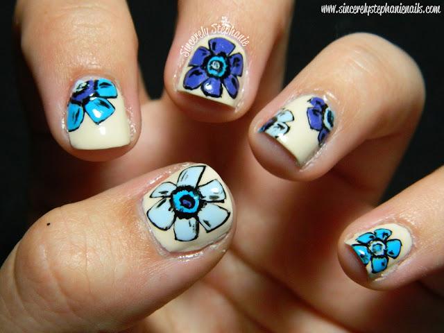 blue floral nail art