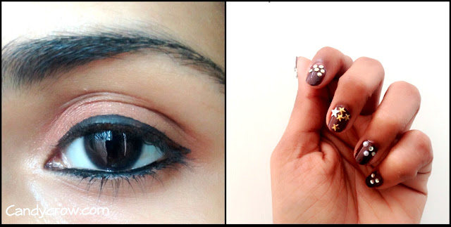 Indian Party Outfit and Makeup, nail art, eyemakeup