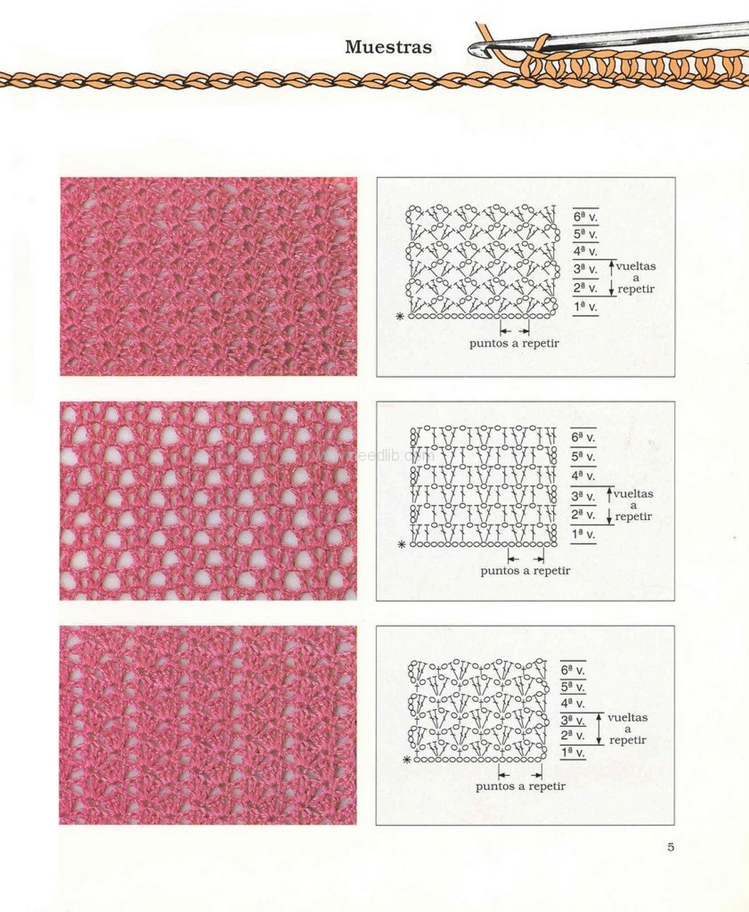 Схемы плотных узоров связанных крючком