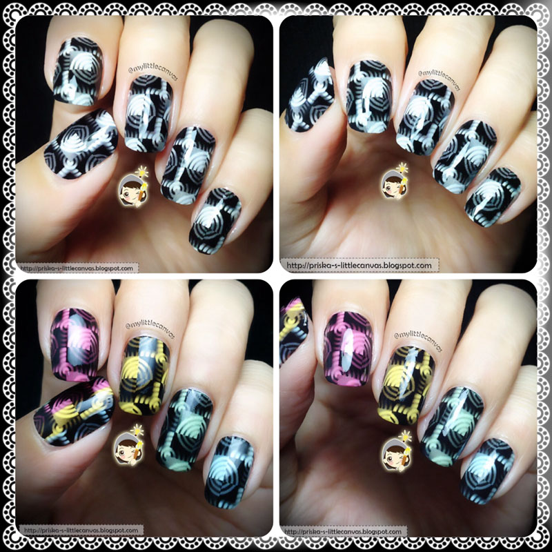 Random Hypnotic Pattern nail art in BW and colors