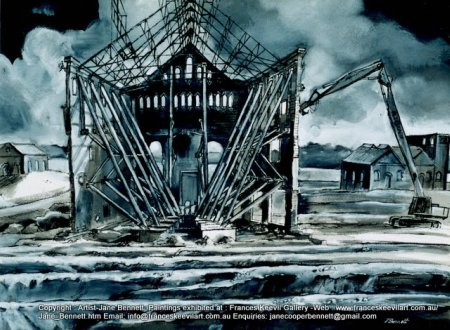 Ruins of Mortlake AGL Gasworks at Breakfast Point ink drawing painted by Jane Bennett artist