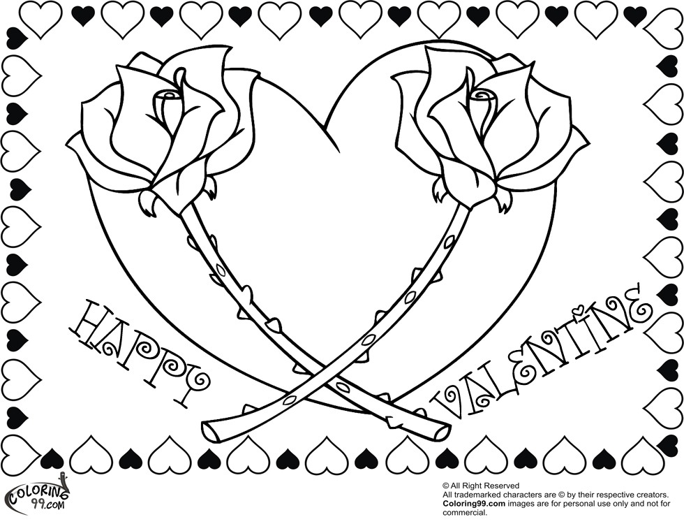 happy valentine rose heart coloring pages