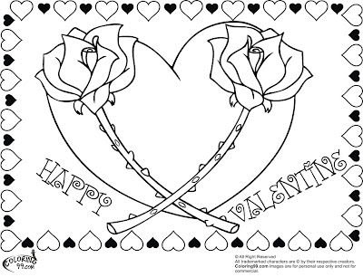 Valentine Heart Coloring Pages Roses