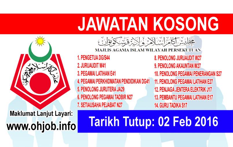 Jawatan Kerja Kosong Majlis Agama Islam Wilayah Persekutuan (MAIWP) logo www.ohjob.info februari 2016