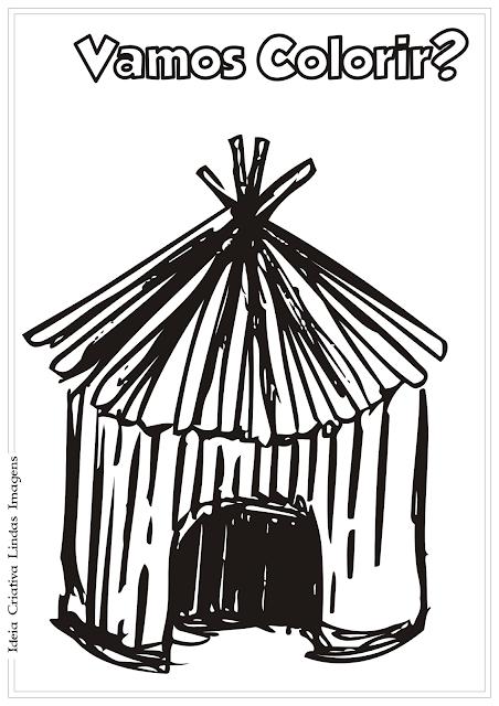 Oca Dia do Índio desenho para colorir