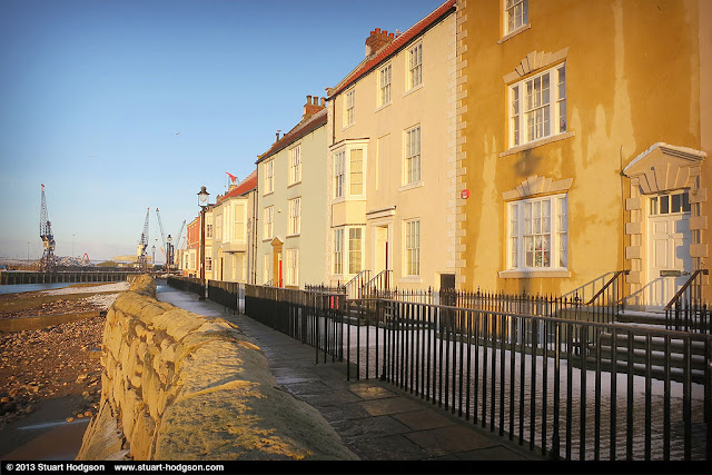 Hartlepool Headland Town Wall, with the Docks in the distance