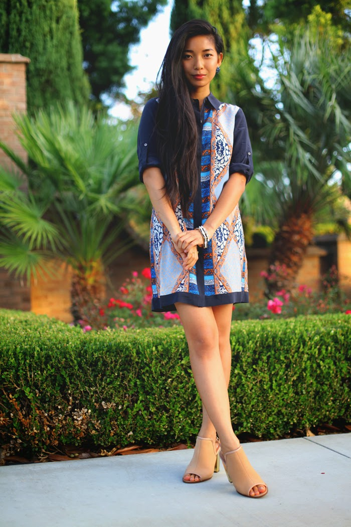 Stephanie Liu of Honey & Silk is wearing Club Monaco Crisanta Dress, CC Skye Monaco Bangle and Pave Princess Bracelet, and Kelsi Dagger heels.