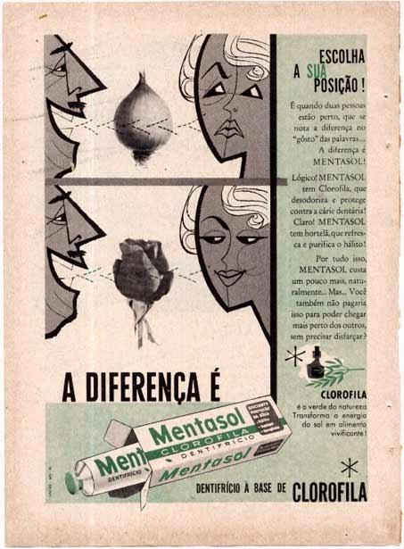 Propaganda do dentifrício Mentasol que fez analogia do 'hálito de cebola' com o prazer que o produto poderia trazer.