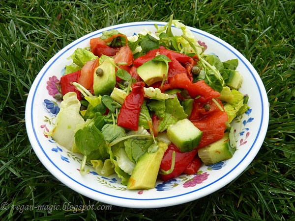 Green Salad with Roasted Peppers and Avocado