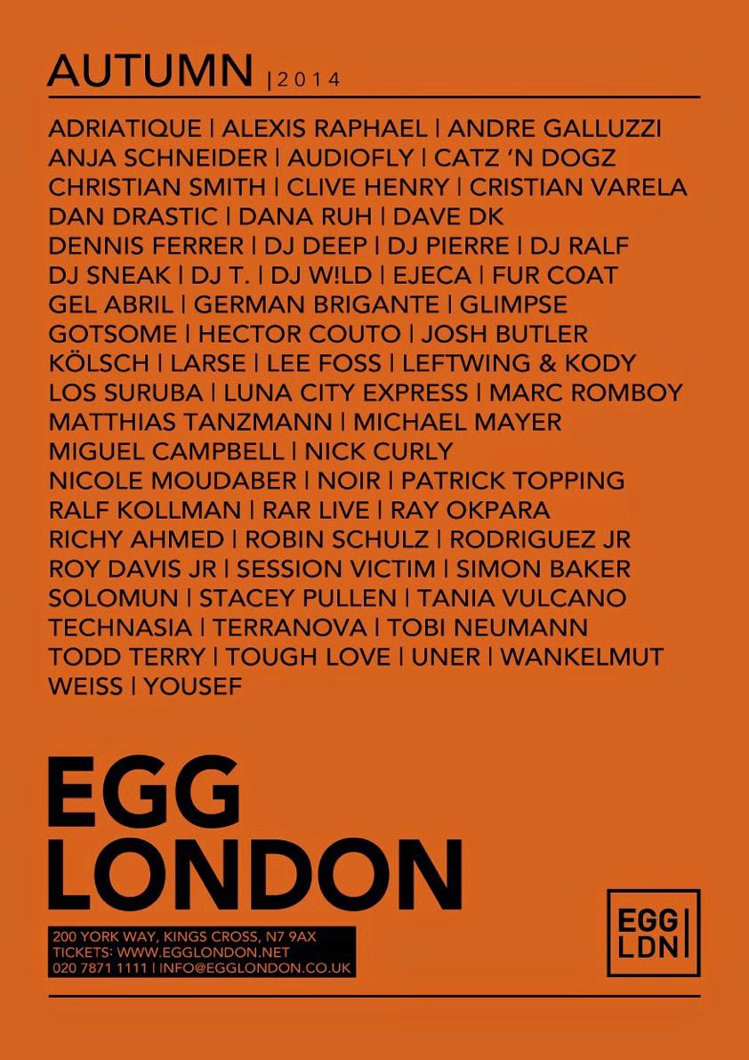 egg london autmun 2014 schedule