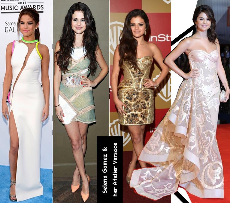 Selena Gomez in various Atelier Versace dresses