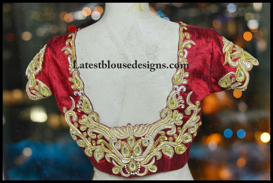 stone work bridal saree blouses