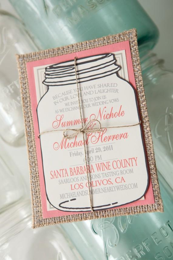 Blue envelope sells these fun mason jar and burlap wedding invitations