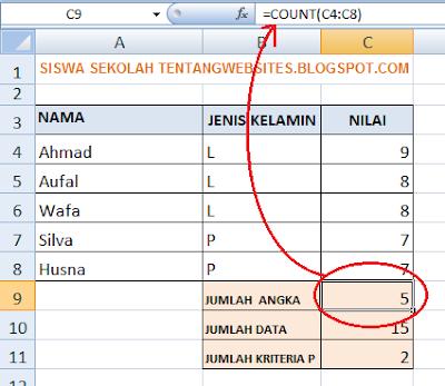 fungsi count, counta dan countif pada excel