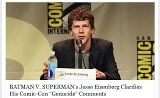 Jesse Eisenberg clarifies Genocide and Comic-Con