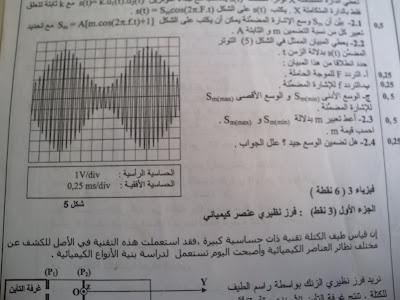 امتحان البكالوريا في مادة الفيزياء والكيمياء