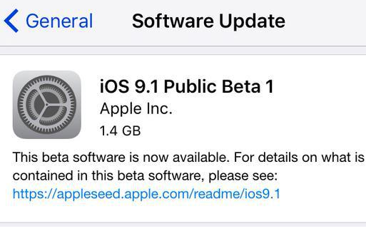 Apple iOS 9.1 Beta 1 OTA Update