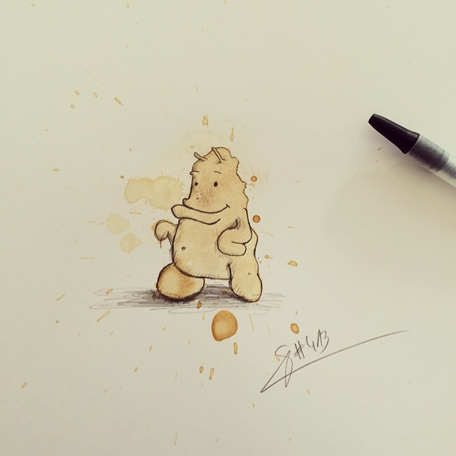 09-Cuddle-Stefan-Kuhnigk-Monster-Drawings-within-Coffee-Stains-www-designstack-co